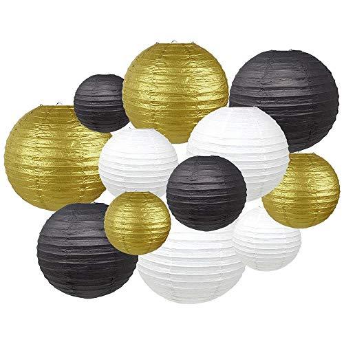 12er Papier Laterne rund Lampenschirm, Morbuy Verschiedene Größen Lampions Papierlaterne Hochtzeit Party Dekoration (Weiß/Gold/schwarz)