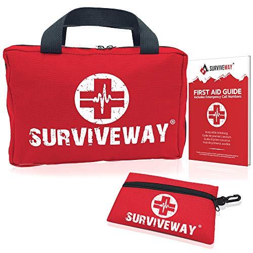 Botiquín de Primeros Auxilios - Kit para el Hogar, Coche, Viaje, Oficina, Deportes, Acampar, Empresas - Bono {Kit de 30 Piezas + Guía + Pinzas para Garrapatas} Surviveway®
