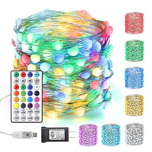 Joomer Color Changing Christmas Fairy Lights, 66ft 200 LED RGB Twinkle Lights with Large Beads, Unique Dual/Triple Colors USB String Lights with Remote & Adapter for Craft Bedroom Wedding