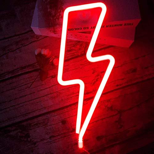 Nordstylee - Segnale di luce neon, luce notturna a LED, ideale come regalo per bambini, parete, festa di compleanno, Natale, decorazione per matrimoni Un fulmine rosso