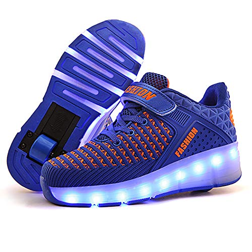 XJBHD Zapatillas de LED para Unisex Niños Niñas, Zapatillas de Patines con Ruedas LED Light-UP, USB Recargable, Ruedas Dobles Individuales Retráctiles, Zapatillas de Deporte Al Aire Libre