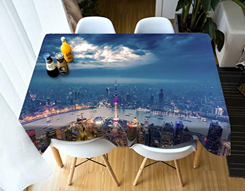 Dreamdge Table Cover Protector Grey Blue Oriental Pearl Tower, Waterproof Washable Polyester Tablecloths 110x170cm