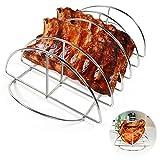 CHARAPID Rib Rack, Great Grilling and Smoking BBQ Rib Rack, Stainless Steel Rib Roast Rack for Large Big Green Egg, Kamado Joe, Charcoal Grill-Holds 5 Baby Back Ribs