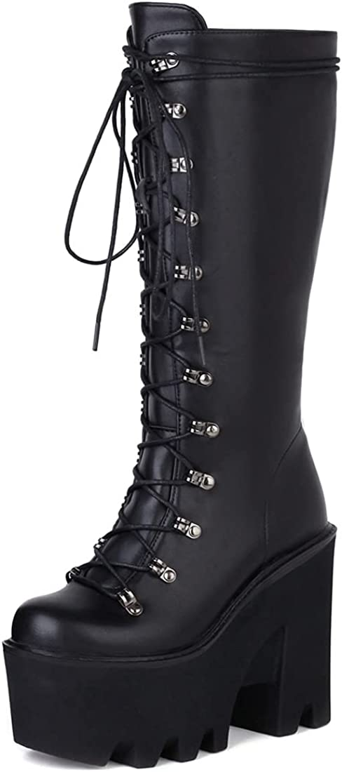 keleimusi Women's Chunky High Heel Platform Mid Calf Boots Goth Punk Style Lace up Black Combat Boots with Chains