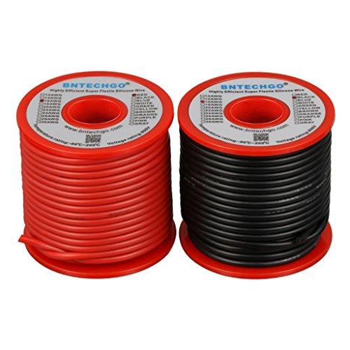 BNTECHGO 16 Gauge Silicone Wire Spool red and Black Each 50ft Flexible 16 AWG Stranded Copper Wire