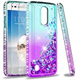 LeYi Compatible for LG Aristo Case, LG Risio 2/ Phoenix 3/ Fortune/Rebel 2 LTE/ K8 2017 Case with Tempered Glass Screen Protector for Girls Women, Glitter Phone Cover for LG LV3 ZX Teal/Purple