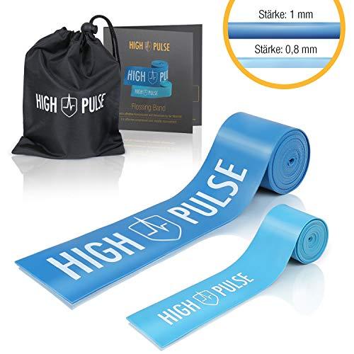 High Pulse®Flossing Band 2er Set inkl. gratis Transporttasche und Beileger – Flossband 1,0 mm stark für Gelenke, Sehnen und Bänder + Mini-Flossband für Zehen und Finger