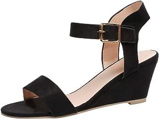 Limsea Women's Ladies Fashion Solid Wedges Heel Buckle Strap Roman Shoes Sandals