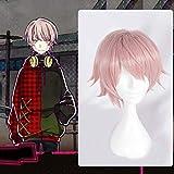 Shimotsuki Yukinari: Peluca de anime de pelo corto rosa claro Peluca de personalidad retro de moda Peluca de material de seda de alta temperatura Peluca de maquillaje Peluca de vestir Peluca de vestir