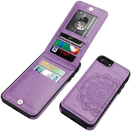 Vaburs iPhone 8 Plus iPhone 7 Plus Case with Wallet Card Holder Embossed Mandala Pattern Flower product image