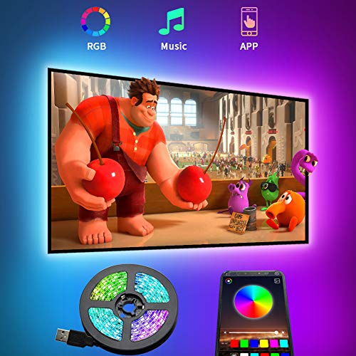 TV LED Backlight, 9.8ft Smart LED Strip Lights for 24-60 Inch TV, Bluetooth APP Control, 16 Million Colors & Multi Scene Modes, Sync with Music, Voice Control, USB Powered