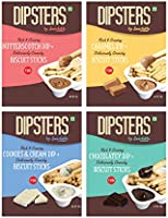 Snackible Dipsters Biscuit Sticks & Dip - Assorted Pack of 4 Flavours | Butterscotch, Caramel, Chocolatey, Cookies&Cream...