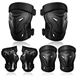 Adult/Child Knee Pad Elbow Pads Guards Protective Gear Set for Roller Skates Cycling BMX Bike Skateboard Inline Skatings Scooter Riding Sports (Black, Large (over 15 years))