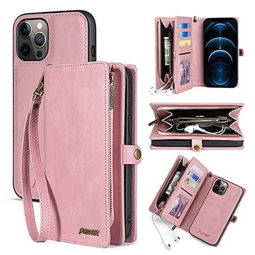AdirMi Funda de Cuero para iPhone 11/11 Pro/11 Pro MAX, Multifuncional Flip Folio Zipper Wallet Funda de Piel con 4 Tarjeta Ranuras y Magnetic Back Cover con Correa la Muñeca,Pink,iPhone11ProMax