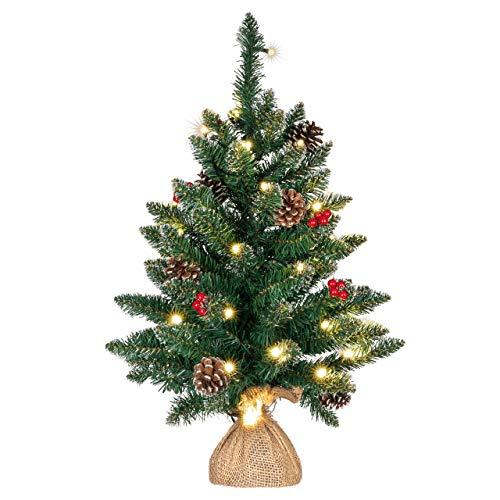 Weihnachtsbaum künstlich grün mit Deko Lichterkette 30 LED warm weiß Batterie Timer Christbaum Tannenbaum 60 cm Weihnachtsdeko Xmas-Deko