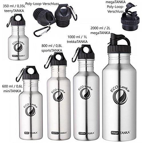 ECOtanka - 350ml / 600ml / 800ml / 1000ml / 2000ml - Poly-Loop-Verschluss, Edelstahl-Trinkflasche