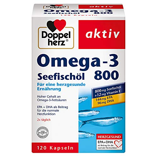 Doppelherz Omega-3 Seefischöl 800 – Mit EPA und DHA sowie Vitamin B1 als Beitrag für die normale Herzfunktion – 120 Kapseln