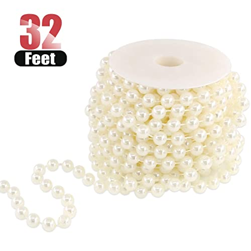 3MM Pearl Bead String On Reel Decorative Wedding Craft Favour Ribbon Cream Ivory