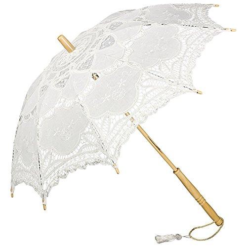 VON LILIENFELD VON LILIENFELD Sombrilla Encaje Boda Nupcial Parasol Decoración Mujer Julie Blanco