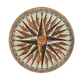 Compass Rug Retro Vintage Brown Round Area Rug for Bedroom Living Room Study Playing, Non-Slip Floor Mat Carpet 3' Diameter
