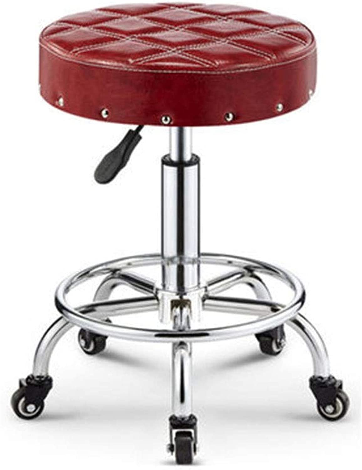 Bar Chair Hairdressing Swivel Chair Backrest Stool Chair Lift Beauty Chair Pulley Work Chair (color   F)