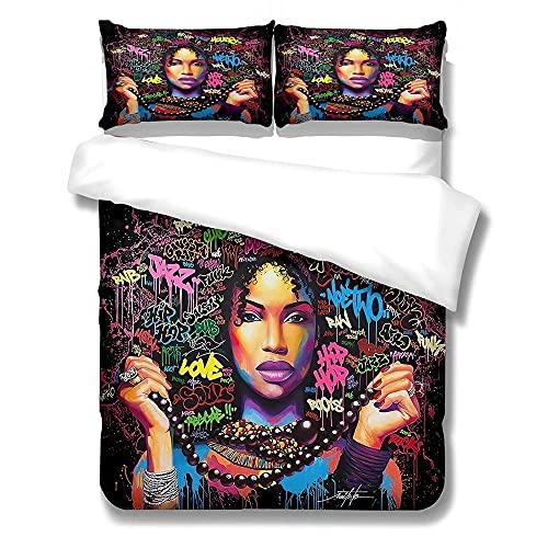 Ropa Cama 3 Piezas Inicio Moda Chica Negra Estampado Dormitorio