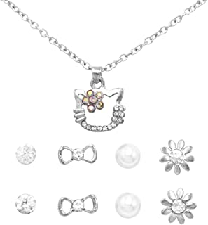 Rosemarie Collections Women's and Girl's Crystal Rhinestone Kitty Cat Necklace and 4 Pairs Earrings Jewelry Set