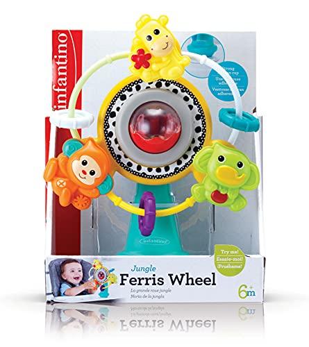 INFANTINO Jouet de Table Ventouse Ferris Wheel pour Chaise Haute avec 3 Amis sur Thème de Jungle/Musique, Multicolore, 1 Unité 315125-00