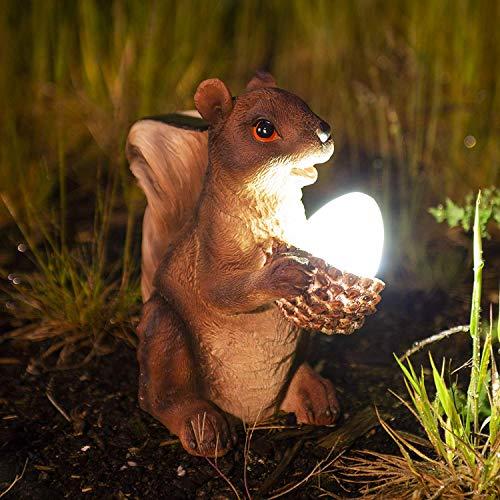 Garden Mile Novelty Light Up Squirrel Solar Power Red Squirrel Solar Light Garden Ornament Lawn Statue Figurine Patio Pond Light Decking Outdoor