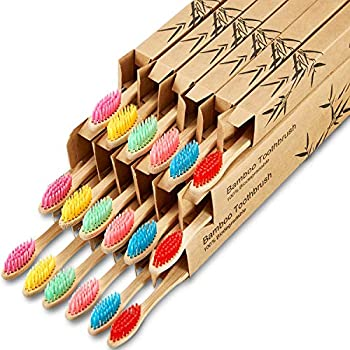 18 Pieces Bamboo Toothbrushes Biodegradable Tooth Brush Natural Bamboo Toothbrushes with BPA-Free Nylon Bristles and Ergonomic Handles in Individually Packaged  Multi-Colors