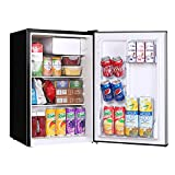 Compact Refrigerator with Freezer 2.5 Cu.Ft. Mini Dorm Fridge FRESTEC 37 dB Quiet Small Refrigerator, Food Storage or Cooling Drinks, Single Door, Adjustable Temperature for Bedroom, Office, Home