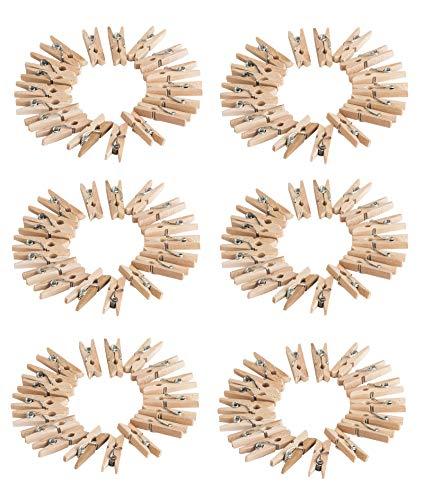 BigDean 108er Set Miniklammern Deko Holzklammern 26 mm lang - Zum Aufhängen von Fotos & Postkarten - Mini Zierklammern aus Holz - Klammern Wäscheklammern Dekoration