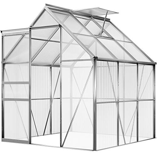 Deuba Invernadero de jardín de Aluminio 190x195x180cm 3,7m² Ventana y Puerta corredera Vivero Plantas Cultivos Huerto