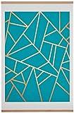 "Amazon Brand – Rivet Blue and Metallic Gold Geometric Print with Oak Hanger, 18"" x 24"""