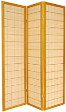 Oriental Furniture 6 ft. Tall Kimura Shoji Screen - 3 Panel - Honey