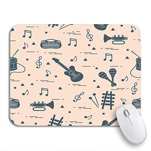 N\A Alfombrilla de ratón para Juegos Patrón de partituras y Diferentes Juguetes Musicales Guitarra Antideslizante Funda de Goma para computadora Alfombrilla para portátiles Alfombrillas para Mouse