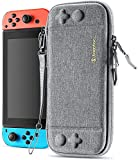 tomtoc Switch Case for Nintendo Switch, Slim Switch Sleeve with 10 Game Cartridges, Protective Switch Carry Case for Travel, with Original Patent and Military Level Protection, Gray