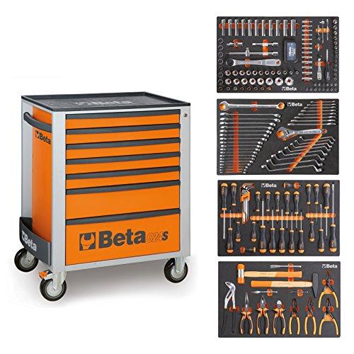 BETA Easy Werkzeugwagen mit 7 Schubladen mit 210 teiligem Werkzeugsortiment für die Autoreperatur, 2400S-O7/E-M (Orange), 024002291