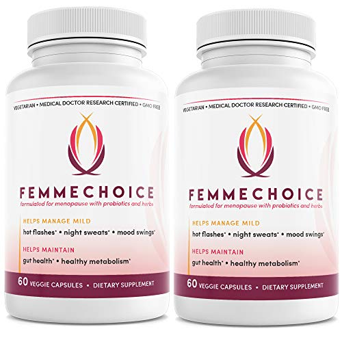 Femmechoice Menopause-Relief Weight-Management 60BillionCFU-Probiotic - Supplement for Women Helps with Hot Flashes, Mood Swings, Night Sweats, Low Energy, Weight Management (2 Pack)