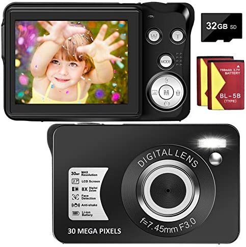 Digital Camera 30MP Camera 1080P Compact Camera 2 7 inch Pocket Camera 8X Digital Zoom Rechargeable product image