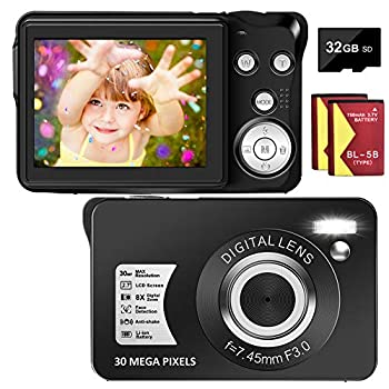 Digital Camera 30MP Camera 1080P Compact Camera 2.7 inch Pocket Camera,8X Digital Zoom Rechargeable Small Digital Cameras for Kids Students Teens,Beginners with 32GB SD Card and 2 Batteries