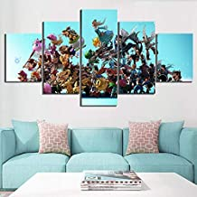 JLJLJL 5 Piece Cartoon Pictures Super Smash Game Poster Pictures Smash Brothers Artwork Paintings Canvas Art for Home Decor
