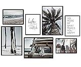 Hyggelig Home Premium Lot de 7 affiches assorties dans un ensemble élégant comme décoration de salon – Tableau mural pour chambre à coucher, couloir – 3 x A3 + 4 x A4 – Set plage sans cadre