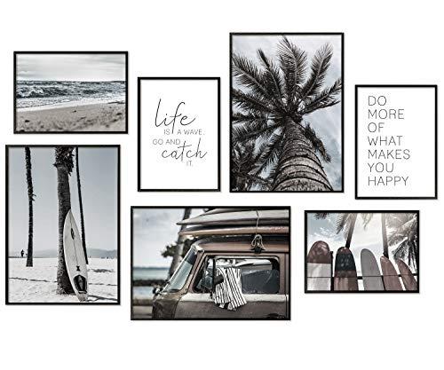 Hyggelig Home Premium Poster Set - 7 passende Bilder im stilvollen Set als Wohnzimmer Deko - Collage Wand Bild Schlafzimmer Flur - 3 x DIN A3 + 4 x DIN A4 - Set Beach ohne Rahmen
