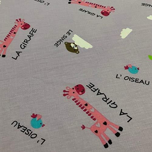 Tela por metros de sábana estampada - Algodón y poliéster - Ancho 270 cm - Confeccionar ropa de cama, decoración, manualidades | Jirafas, pájaros y monos, lila