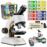 LANBABA Kids Microscope with Case 40x to 800x Magnification Beginner Microscope for Kids with Child Microscope Slides Stem Projects for Kids Ages 5-7 8-12 (White)