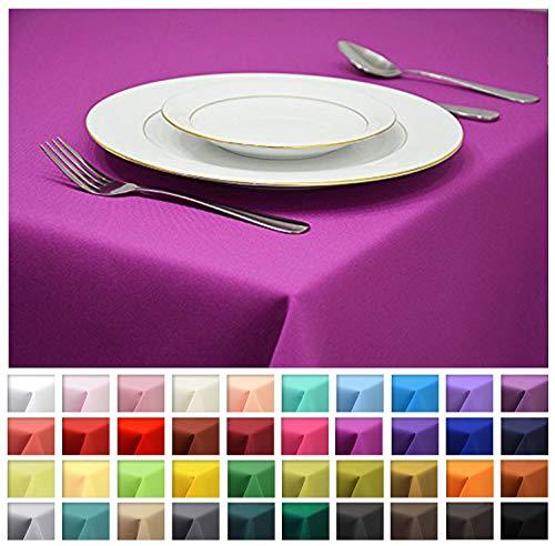 Rollmayer Tischdecke Tischtuch Tischläufer Tischwäsche Gastronomie (Fuchsie 43, 140x200cm) Uni einfarbig pflegeleicht waschbar Kollektion Vivid