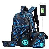 JiaYou Boy Girl Unisex 20L Fashion School Bag Backpack with Florescent Mark 3 Sets/2 Sets (20L, USB ColorG 3 Sets)
