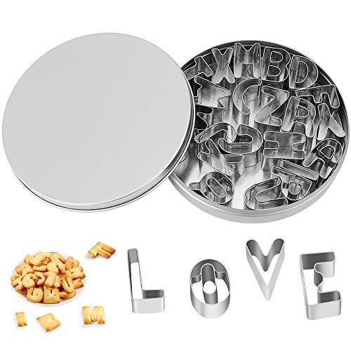 26Pcs Formine per Biscotti, Stampini per Biscotti di Forma Lettere dell'Alfabeto A-Z, Tagliabiscotti in Acciaio Inossidabile Anti-Ruggine, Perfetti per Pasta di Zucchero, Biscotti Natalizi, Battesimo