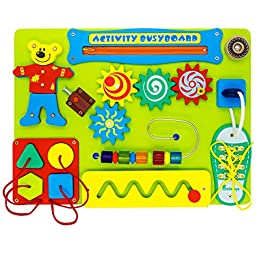 Alatoys Wooden Sensory Busy Board for 2 Year Old Toddler Montessori Basic Motor Skills Activity Toys Educational Toy with Lacing Sorter Gears Zipper
